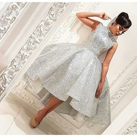 Sparkly Sliver Sequins Hi-Lo Ball Gown Prom Dresses High Neck Knee-Length Sleeveless Formal Party Dresses