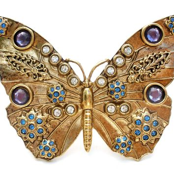 Huge Vintage Butterfly Brooch Pin with Rhinestones
