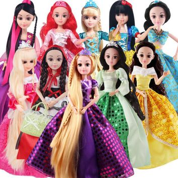 12'' Girl's Favorite Princess Sweet Doll action toy figure Dolls 1/6 Princesses Toys For Girls  Cinderella Rapunzel mermaid