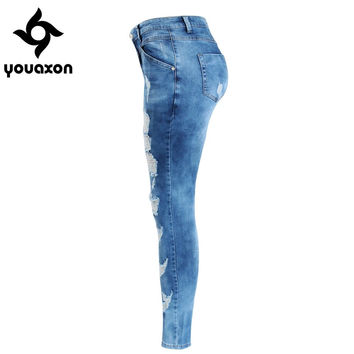 Youaxon Women`s Plus Size Brand New Fashion Mid Waist Ripped Stretch Skinny Pants Jeans For Women True Denim Jean
