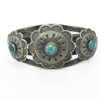 Navajo Turquoise Bracelet. Native American Cuff. Vintage 1940s Fred Harvey Era. Sun, Flower. Stampings, Arrow, Thunderbird 1.02 oz