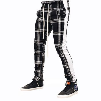 Plaid Track Pants (Black/White)