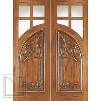 AN-2011-2 Mahogany 4 Lite Tempere Solid Entry TDL Double Door