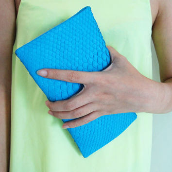 MINI Sea Foam Cyan Blue Fold Over Python Snakeskin Leather Clutch