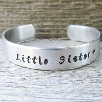 Bracelet LITTLE SISTER Hand Stamped Jewelry Cuff Quote Personalized Sisters New Siblings Gift Toddler Children's Sizes