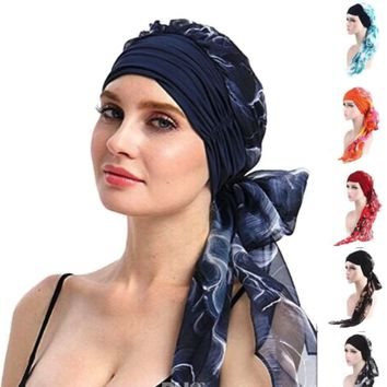 Cancer Chemo Cap Long Wide Band Silky and Soft Headscarf Hair Loss One Size Adult Turban Head Cover