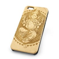 GENUINE WOOD Organic Snap On Case Cover for APPLE IPHONE 4 / 4S - GANESH QUEEN elephant god ganesha hindu indian buddha thai