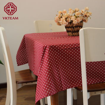 VKTEAM Table Cloths Cotton Tablecloths For Round Table Brown/Red/Green/Blue/Pink Table Cloth Rectangular Polka Dot Tablecloth