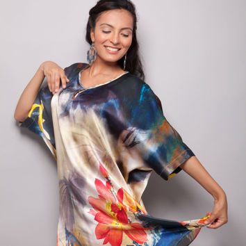 Vitality - 100% Natural Silk Satin Unique Women Long Sleeve Tunic/Blouse