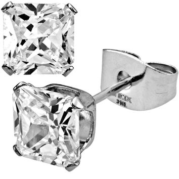 Inox 316L Steel Square Cut Clear Cubic Zirconia Stud Earrings