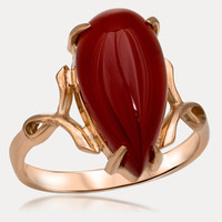 14K Gold over 925 Silver Ring with Carnelian