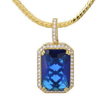 Jewelry Kay style Men's 14kt Gold Plated Blue Ruby Pendant Miami Cuban Chain Necklace BCH 11174 BL