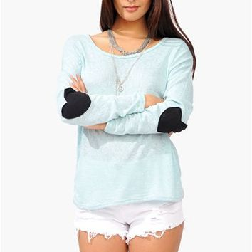 Heart Elbow Knit - Blue