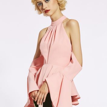 Chicloth Pink Stand Collar Cold Shoulder Women's Blouse