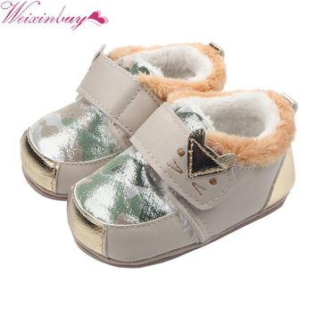 First Walkers Toddlers Warm Cartoon Cat Baby Girl Leather Rubber Sole Baby Shoes Baby Boy Comfortable Anti-slip Waterproof Shoes