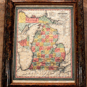 Michigan State Map Print of an 1853 Map on by apageintime on Etsy