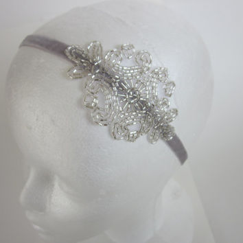 Great Gatsby Bridal Sash Belt Silver Pale Gray 1920s Flapper Wedding Roaring 20s Art Deco Beaded with Velvet