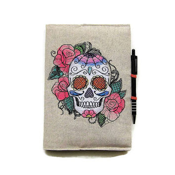 A5 notebook and pen, sugar skull notebook, Halloween gift set, embroidered sugar skull journal cover, reusable linen notebook cover.