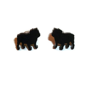 British Bulldog Earrings, Black Cute Kawaii Dog Stud Earrings, Animal Jewelry