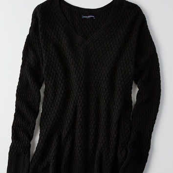 AEO Textured V-Neck Sweater, Black