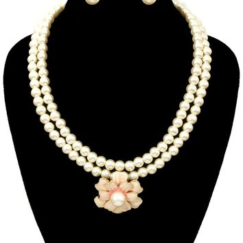 Pearl with Flower Necklace Set