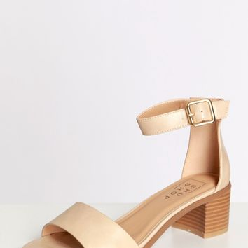 On The Ave Strap Heels Nude