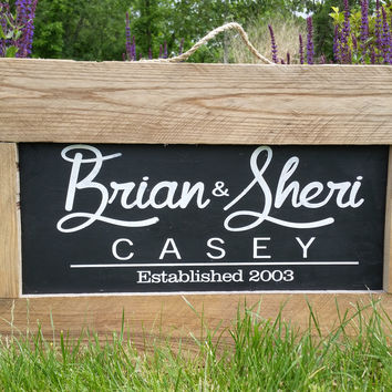 Rustic Personalized Sign-Rustic Meets Modern with Hard Wood Border