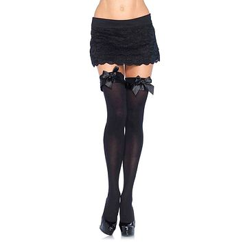 Looking Sweet Satin Ruffle Bow Thigh High Stockings Tights Hosiery - 2 Colors Available