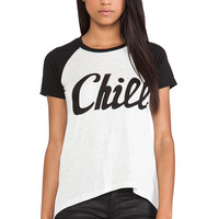 "291 ""Chill"" Color Block Boyfriend Tee in Ivory"