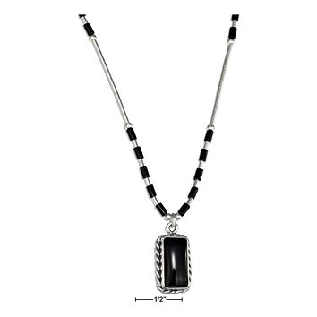 """STERLING SILVER 16"""" LIQUID SILVER WITH RECTANGLE SIMULATED BLACK ONYX NECKLACE"""