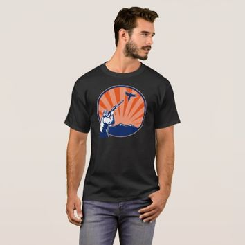 hunter aiming shooting shotgun rifle pheasant T-Shirt