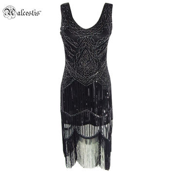 Women's 1920s Gastby Inspired Sequined Embellished Fringed Flapper Black Silver Thread Embroidery Dress Sexy Party Dresese