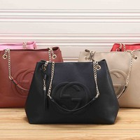 """Gucci"" Simple Fashion GG Letter Embossed Single Shoulder Tote Bag Women  Chain Big Handbag"