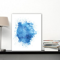 Death Star Print Yourself, Star Wars Wall Art Blue Watercolor Star Wars Home Decor Gifts, Death Star Poster Download, Globe Art, Globe Print
