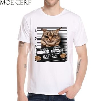 Men's Bad Cat Police Dept Print T-Shirt Newest Summer Fashion White T Shirt New Arrival Casual Tops Hipster Teens Shirt L11-51