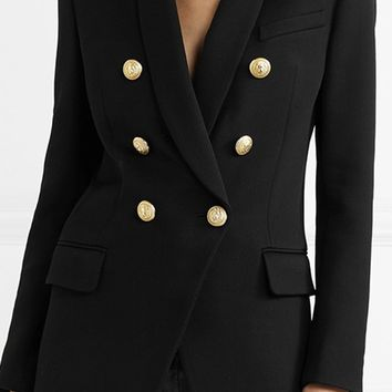 Climbing The Ladder Long Sleeve Double Breasted Gold Button Blazer Jacket Outerwear - 2 Colors Available