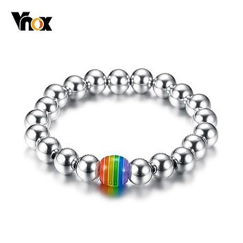 BRACELET JEWELRY LGBT Stainless Steel Beaded Rainbow Handmade Gay Pride