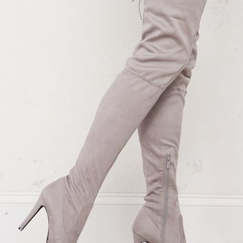 Faux Suede Thigh High Boots in Black and Grey