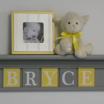 "Yellow and Gray Nursery Wall Art - Yellow Baby Boy Nursery Decor - BRYCE - Personalized 24"" Grey Wood Shelf 5 Wooden Wall Letters"