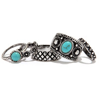 Montezuma Castle Silver and Turquoise Ring Set