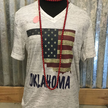 Fleck V Neck Short Sleeve Vintage Oklahoma Flag T-Shirt