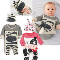 Long Sleeve Cotton Baby Cartoon  Romper+Hat