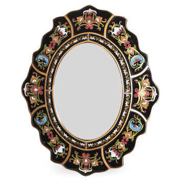 Mirrors, Scalloped Wall Mirror, Black, Wall Mirrors