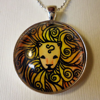 Leo Necklace  Art Jewelry  Zodiac Signs by cellsdividing on Etsy