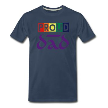 "Men's ZMK Style Premium Organic T-Shirt LGBTQ ""PROUD DAD"" (S-5XL) Blue"