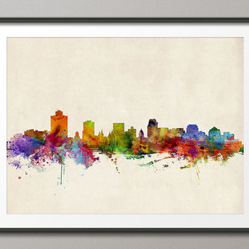 Salt Lake City Skyline, Art Print - 12x16 up to 24x36 inch (158)