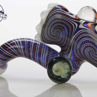 Red White & Blue Heady Switchback Sherlock Glass Pipe- White Accents