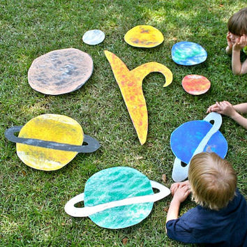 Montessori Large Solar System - Fabric Decal - Felt Board Flannel Board Story, Space, Planets - Classroom Decal - Boys Room Decal
