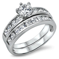 Sterling Silver Wedding 2 Ring Set with Simulated Diamond CZ Engagement and Band size 5-9