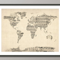 Map of the World Map from Old Sheet Music Art Print